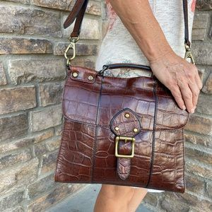 Fossil Croc Embossed Leather Tophandle Crossbody